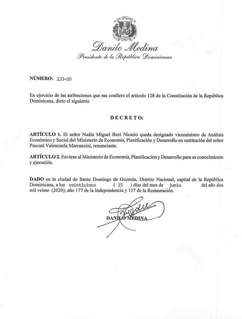 <p>Danilo Medina designa nuevo viceministro de Econom&iacute;a</p>