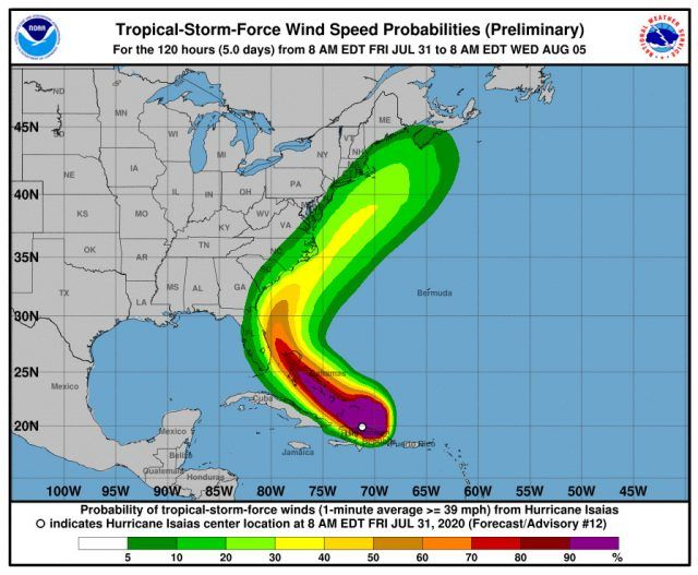 <p>La tormenta Isa&iacute;as se convierte en hurac&aacute;n de categor&iacute;a 1 al sur de las Bahamas</p>