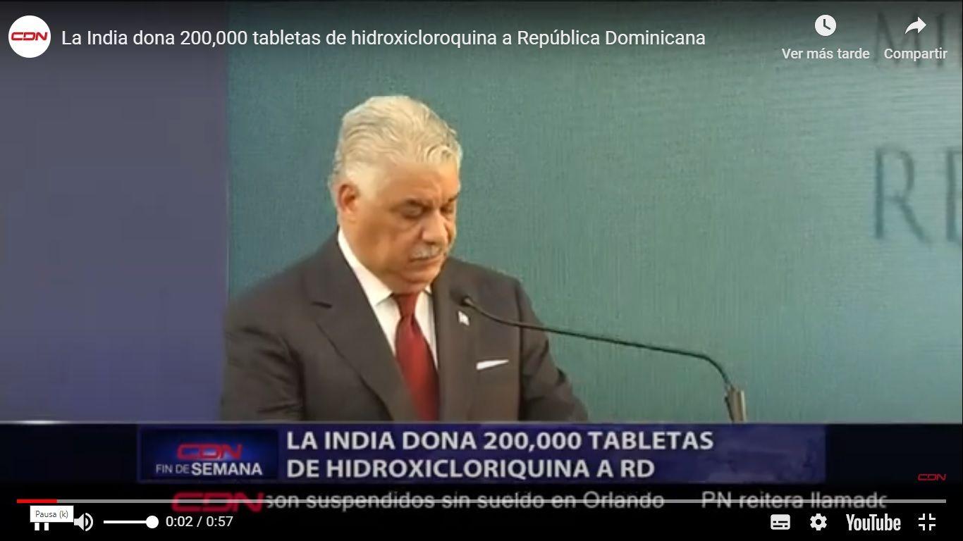 La India dona 200,000 tabletas de hidroxicloroquina a República Dominicana
