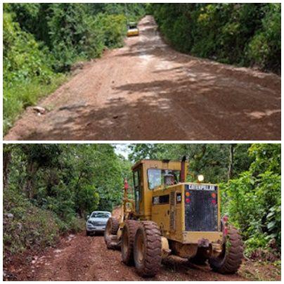 Minera Belfond repara caminos y calles de Las Filipinas y Santa Elena